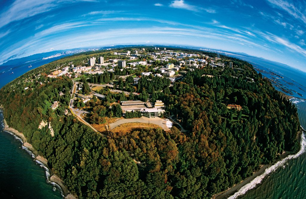 Aerial view over UBC through fish-eye lens
